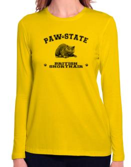Paw state British Shorthair Long Sleeve T-Shirt-Womens