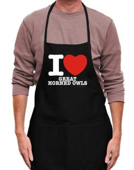I Love Great Horned Owls Apron
