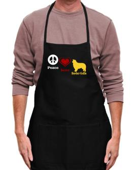 Peace, Love, Border Collie Apron