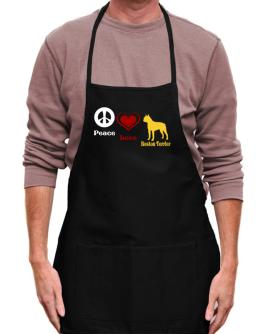 Peace, Love, Boston Terrier Apron