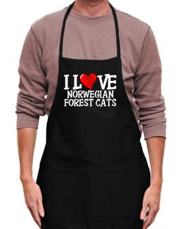 I Love Norwegian Forest Cats - Scratched Heart Apron