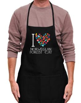 I love Norwegian Forest Cat colorful hearts Apron