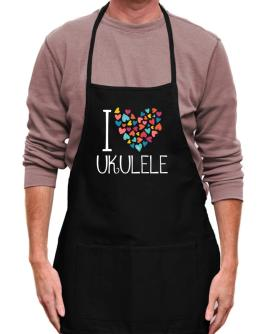 I love Ukulele colorful hearts Apron