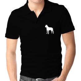 Boston Terrier Silhouette Embroidery Polo Shirt
