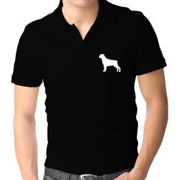 Rottweiler Silhouette Embroidery Polo Shirt