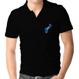 Polo Camisa de Guam - Country Map Color Simple