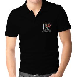 I love California Spangled Cat colorful hearts Polo Shirt