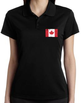 """ Canada - Vintage Flag "" Polo Shirt-Womens"