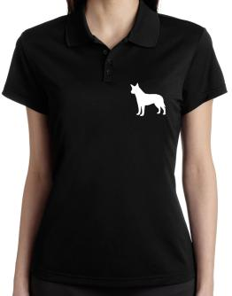 Australian Cattle Dog Silhouette Embroidery Polo Shirt-Womens
