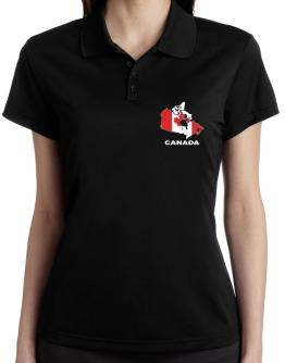 Canada - Country Map Color Polo Shirt-Womens