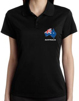 Australia - Country Map Color Polo Shirt-Womens