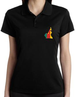 Cameroon - Country Map Color Simple Polo Shirt-Womens