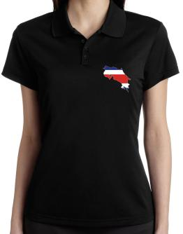 Costa Rica - Country Map Color Simple Polo Shirt-Womens