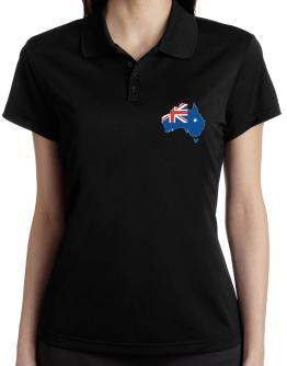 Australia - Country Map Color Simple Polo Shirt-Womens