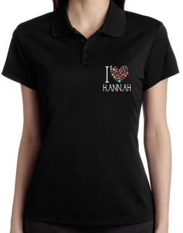 I love Hannah colorful hearts Polo Shirt-Womens