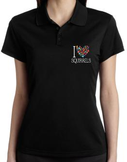 I love Squirrels colorful hearts Polo Shirt-Womens