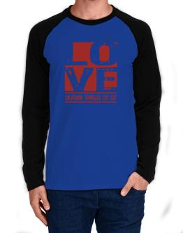 Love California Spangled Cat Long-sleeve Raglan T-Shirt