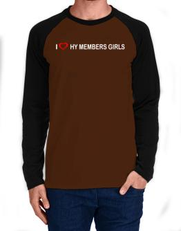 I love Hy Members Girls Long-sleeve Raglan T-Shirt
