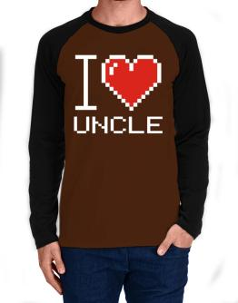 I love Auncle pixelated Long-sleeve Raglan T-Shirt