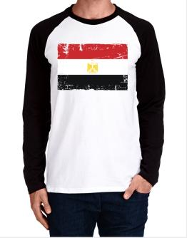""" Egypt - Vintage Flag "" Long-sleeve Raglan T-Shirt"