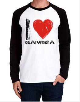 I Love Gambia - Vintage Long-sleeve Raglan T-Shirt