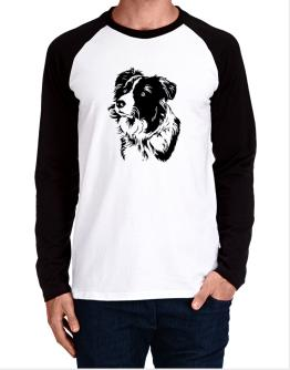 Border Collie Face Special Graphic Long-sleeve Raglan T-Shirt