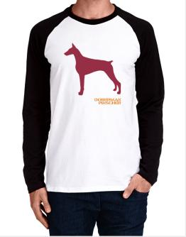 Doberman Pinscher Stencil / Chees Long-sleeve Raglan T-Shirt