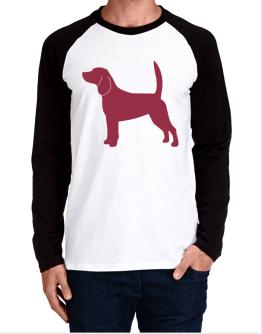 Beagle Silhouette Embroidery Long-sleeve Raglan T-Shirt