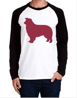 Border Collie Silhouette Embroidery Long-sleeve Raglan T-Shirt