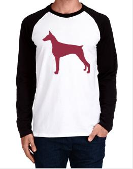 Doberman Pinscher Silhouette Embroidery Long-sleeve Raglan T-Shirt