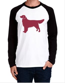 Golden Retriever Silhouette Embroidery Long-sleeve Raglan T-Shirt