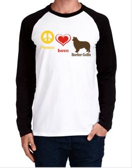 Peace, Love, Border Collie Long-sleeve Raglan T-Shirt