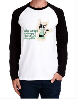 Who Needs Therapy? I Have My California Spangled Cat Long-sleeve Raglan T-Shirt