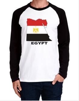 Egypt - Country Map Color Long-sleeve Raglan T-Shirt