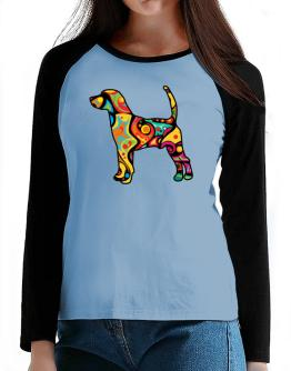 Psychedelic Beagle Harrier T-Shirt - Raglan Long Sleeve-Womens