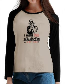 I Want You To Speak Saramaccan Or Get Out! T-Shirt - Raglan Long Sleeve-Womens