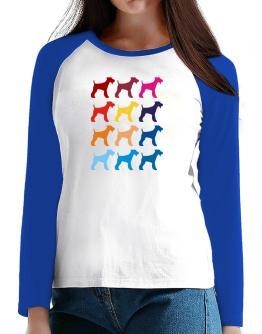 Colorful Fox Terrier T-Shirt - Raglan Long Sleeve-Womens