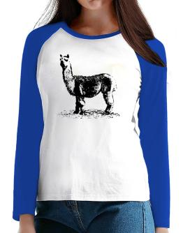 Alpaca sketch T-Shirt - Raglan Long Sleeve-Womens