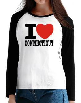 I Love Connecticut T-Shirt - Raglan Long Sleeve-Womens