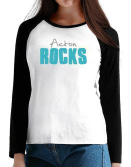 Acton Rocks T-Shirt - Raglan Long Sleeve-Womens