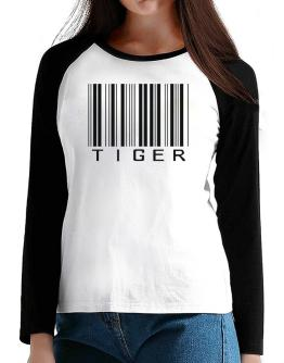 Tiger Barcode / Bar Code T-Shirt - Raglan Long Sleeve-Womens
