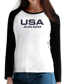 Usa Aikido / Athletic America T-Shirt - Raglan Long Sleeve-Womens