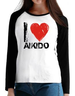 I Love Aikido T-Shirt - Raglan Long Sleeve-Womens