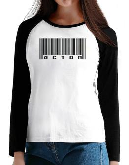 Bar Code Acton T-Shirt - Raglan Long Sleeve-Womens