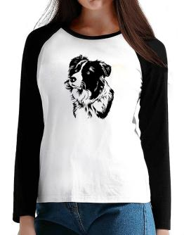 Border Collie Face Special Graphic T-Shirt - Raglan Long Sleeve-Womens