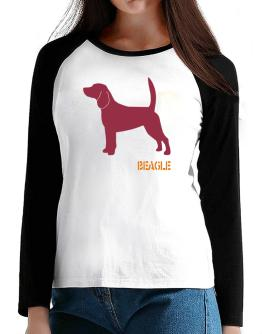 Beagle Stencil / Chees T-Shirt - Raglan Long Sleeve-Womens