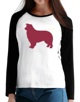 Border Collie Silhouette Embroidery T-Shirt - Raglan Long Sleeve-Womens