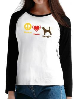 Peace, Love, Beagle T-Shirt - Raglan Long Sleeve-Womens
