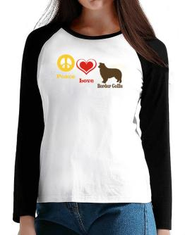 Peace, Love, Border Collie T-Shirt - Raglan Long Sleeve-Womens