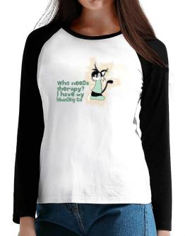 Who Needs Therapy? I Have My Hemingway Cat T-Shirt - Raglan Long Sleeve-Womens